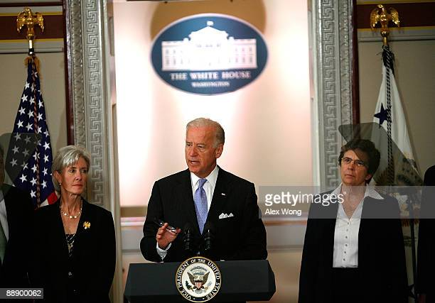 S Vice President Joseph Biden speaks as Health and Human Services Secretary Kathleen Sebelius and President and CEO of Catholic Health Association of...