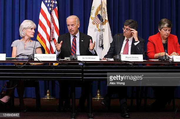S Vice President Joseph Biden speaks as Secretary of Health and Human Services Kathleen Sebelius Office of Management and Budget Director Jacob Lew...