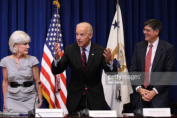 S Vice President Joseph Biden speaks as Secretary of Health and Human Services Kathleen Sebelius and Office of Management and Budget Director Jacob...