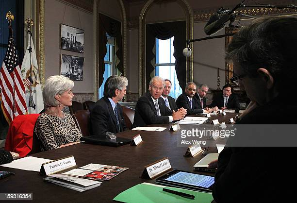 S Vice President Joseph Biden speaks during a meeting with Attorney General Eric Holder and Secretary of Health and Human Services Kathleen Sebelius...