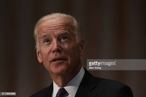 U S Vice President Joseph Biden speaks during a memorial service for the late former Israeli president Shimon Peres at the Adas Israel Congregation...