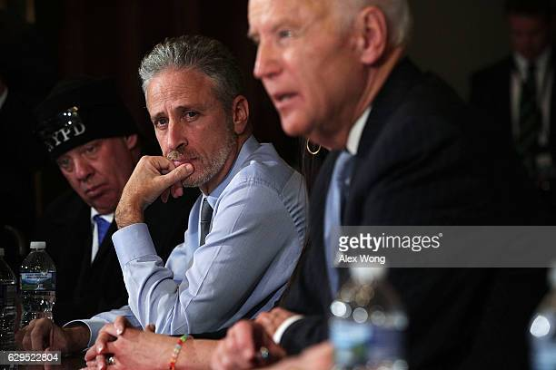 S Vice President Joseph Biden speaks during a roundtable on the Cancer Moonshot Initiative as comedian Jon Stewart looks on December 13 2016 at...