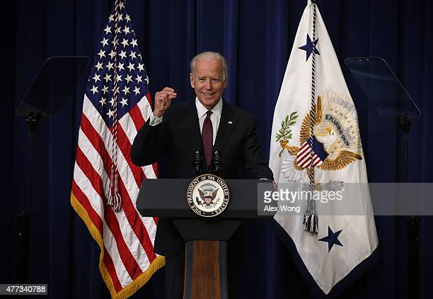 Vice President Joseph Biden speaks during a White House Clean Energy Investment Summit June 16, 2015 in the Eisenhower Executive Office Building in...