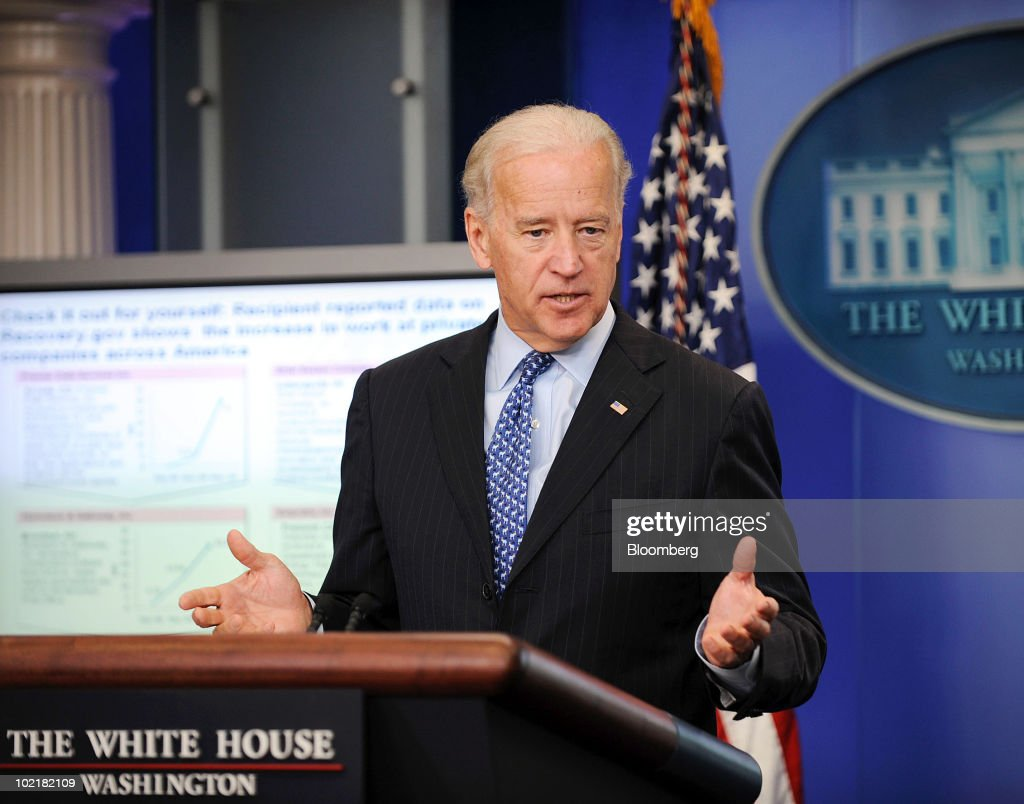 U.S. Vice President Joseph Biden speaks to the media about the Recovery Act during the daily briefing at the White House in Washington, D.C., U.S., on Thursday, June 17, 2010. Senate Democrats are still searching for the votes to pass a jobs bill a day after scaling back the measure in response to complaints it would add too much to the government's budget deficit. Photographer: Leslie E. Kossoff/Pool via Bloomberg