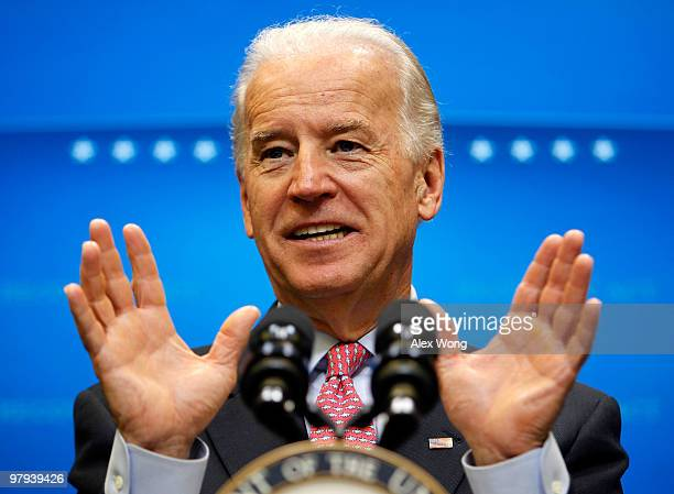 S Vice President Joseph Biden speaks to the media at Eisenhower Executive Office Building March 22 2010 in Washington DC Biden made a statement on...