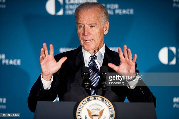 US Vice President Joseph Joe Biden speaks at the American Job Creation and Infrastructure Forum in Washington DC US on Thursday Oct 8 2015 The forum...