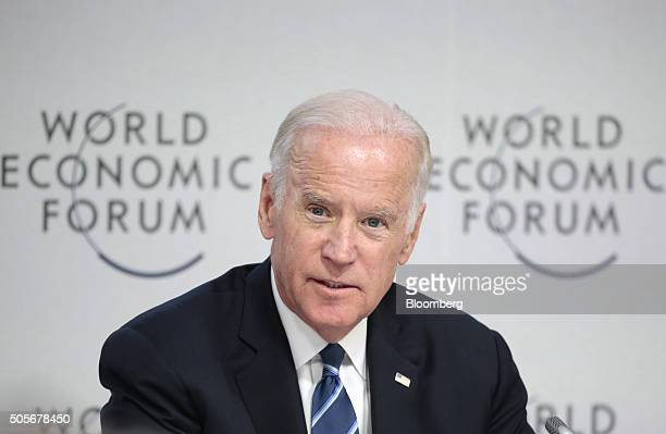 US Vice President Joseph 'Joe' Biden speaks during a panel session on cancer research treatment and data science in Davos Switzerland on Tuesday Jan...