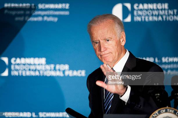 US Vice President Joseph Joe Biden waves to the audience after speaking at the American Job Creation and Infrastructure Forum in Washington DC US on...