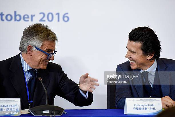 Vice President Juan Antonio Samaranch Salisachs speaks with IOC Olympic Games Executive Director Christophe Dubi during the 1st Meeting of the IOC...
