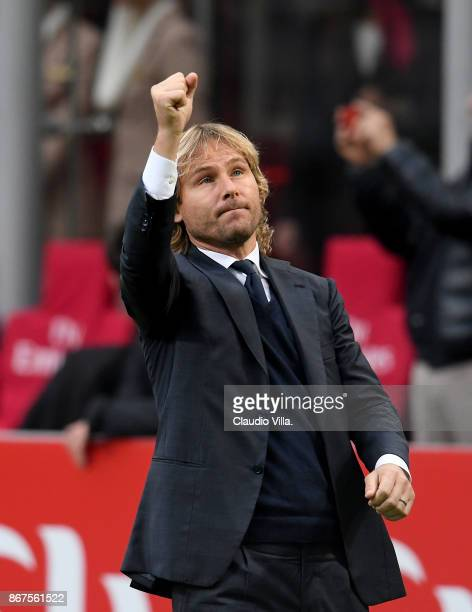 Vice President Juventus Pavel Nedved looks on before the Serie A match between AC Milan and Juventus at Stadio Giuseppe Meazza on October 28 2017 in...