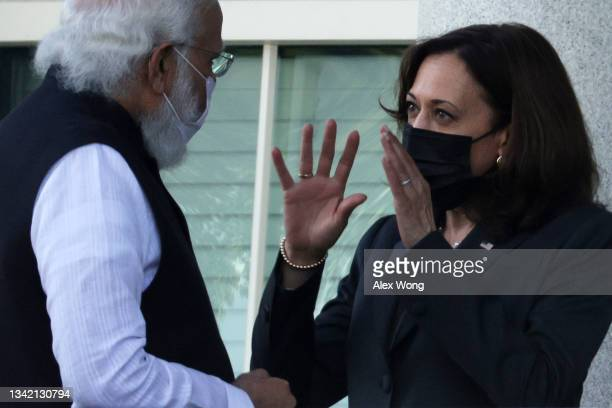 Vice President Kamala Harris and Indian Prime Minister Narendra Modi tour the balcony outside the Vice President's ceremonial office at Eisenhower...