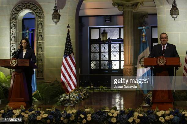 Vice President Kamala Harris and President Alejandro Giamattei during the press conference at the Palace of Culture on June 07, 2021 in Guatemala...