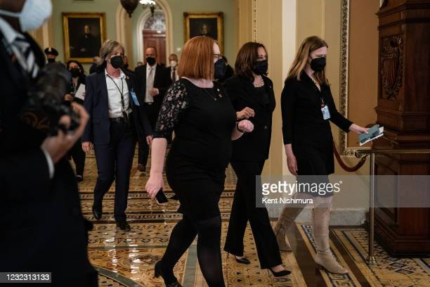 Vice President Kamala Harris arrives at the U.S. Capitol Building to pay her respects to US Capitol Police Officer William Billy Evans who is laying...