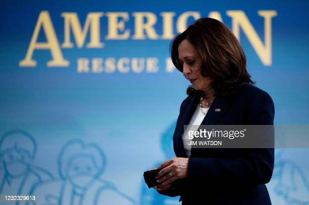 Vice President Kamala Harris arrives to speak about the American Recovery Plan at the White House in Washington, DC, on April 15, 2021.