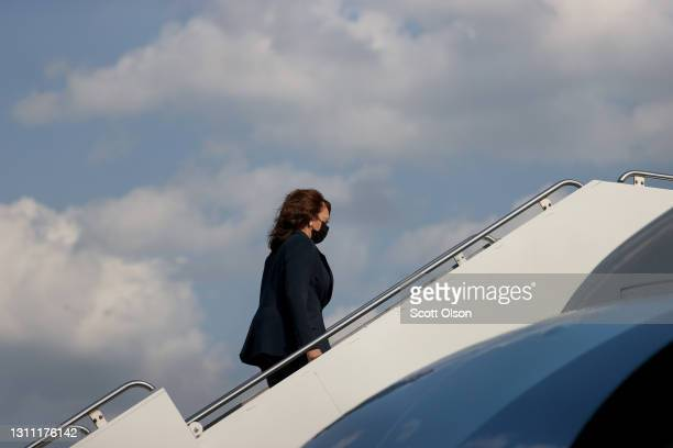 Vice President Kamala Harris boards Air Force Two at Midway Airport on April 06, 2021 in Chicago, Illinois. Vice President Harris stopped by a...