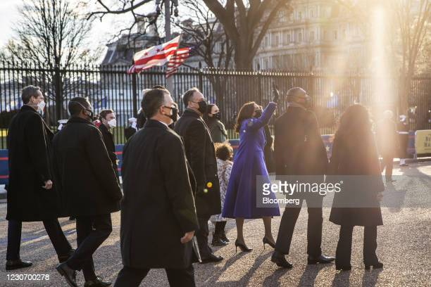 Vice President Kamala Harris, center right, walks on Pennsylvania Avenue during the 59th presidential inauguration parade in Washington, D.C., U.S.,...