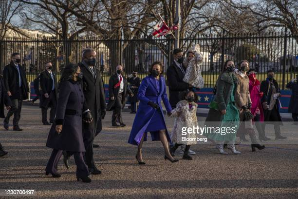 Vice President Kamala Harris, center, walks on Pennsylvania Avenue during the 59th presidential inauguration parade in Washington, D.C., U.S., on...
