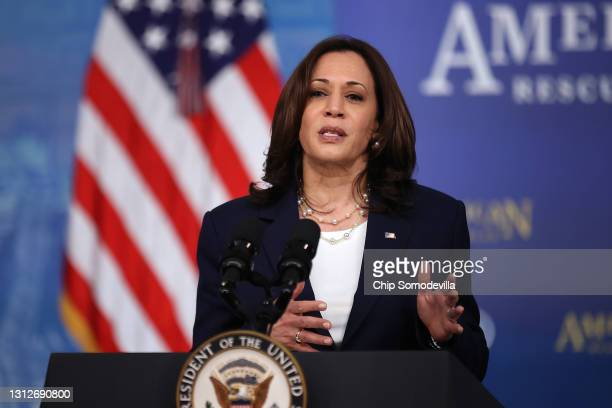 Vice President Kamala Harris delivers remarks about the Biden administration's decision to the release of $39 billion of American Rescue Plan funds...