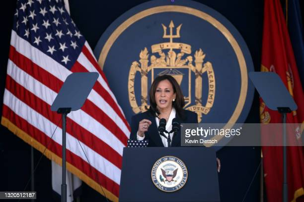 Vice President Kamala Harris delivers remarks at the U.S. Naval Academy Graduation and Commissioning Ceremony at the Naval Academy on May 28, 2021 in...