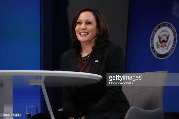 Vice President Kamala Harris delivers remarks during a virtual meeting of the House Democratic Issues Conference in the South Court Auditorium of the...