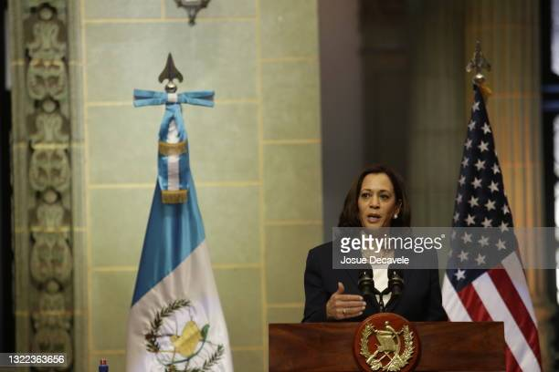 Vice President Kamala Harris during the press conference at the Palace of Culture on June 07, 2021 in Guatemala City, Guatemala.In her first trip...
