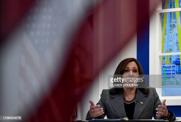 Vice President Kamala Harris hosts a roundtable with workers to discuss encouraging worker organizing and collective bargaining, in the South Court...