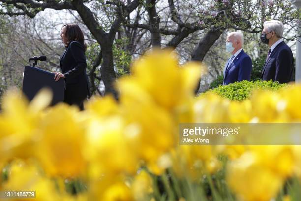 Vice President Kamala Harris introduces U.S. President Joe Biden as Attorney General Merrick Garland listen during an event on gun control in the...