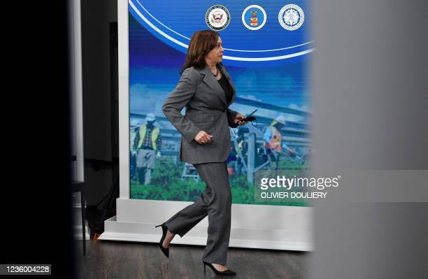 Vice President Kamala Harris leaves after hosting a roundtable with workers to discuss encouraging worker organizing and collective bargaining, in...
