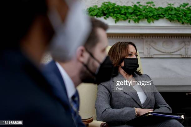 Vice President Kamala Harris listens during the weekly economic briefing in the Oval Office at the White House on April 9, 2021 in Washington, DC.