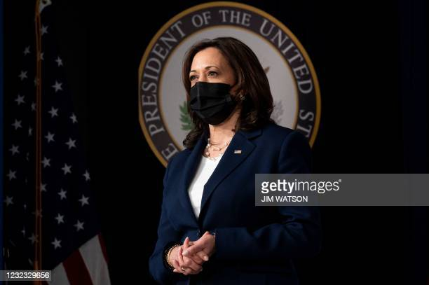 Vice President Kamala Harris looks on before speaking about the American Recovery Plan at the White House in Washington, DC, on April 15, 2021.