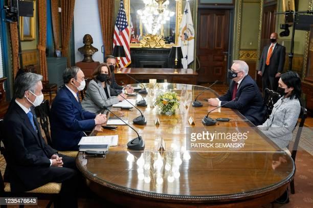 Vice President Kamala Harris meets with Japanese Prime Minister Yoshihide Suga and Australian Prime Minister Scott Morrison in the Vice President's...