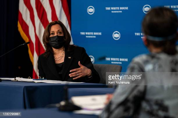 Vice President Kamala Harris participates in a roundtable discussion on Black Womens Maternal Health at the Eisenhower Executive Office Building on...