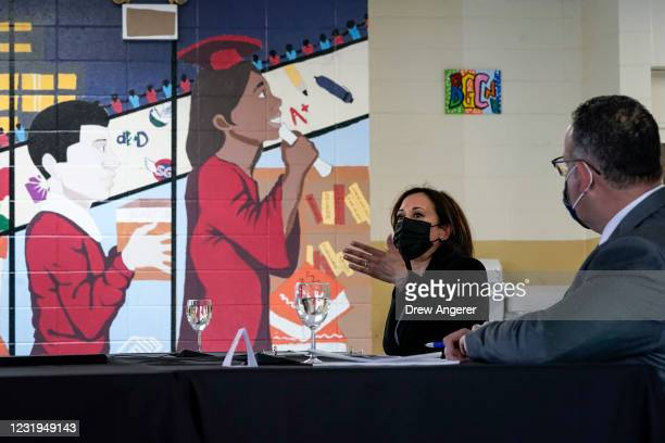 Vice President Kamala Harris participates in a roundtable session about reducing childhood poverty at the Boys and Girls Club of New Haven on March...