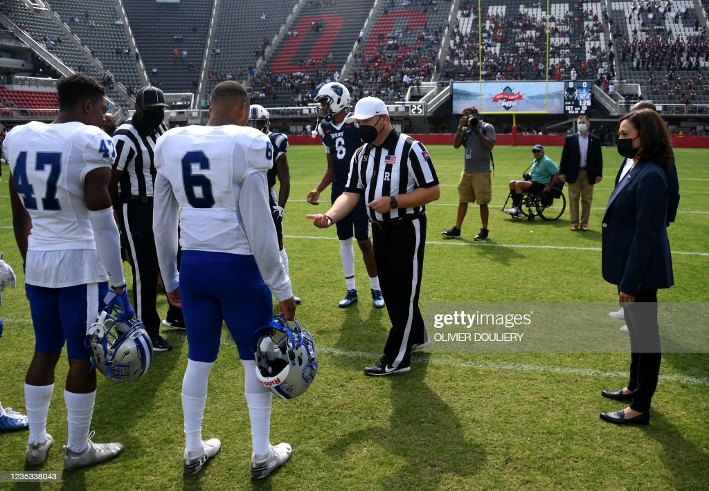 Vice President Kamala Harris participates in the coin toss at the opening of the football game between Howard University and Hampton University at...