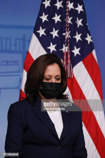 Vice President Kamala Harris prepares to deliver remarks about the Biden administration's decision to the release of $39 billion of American Rescue...