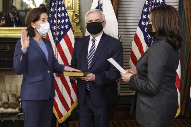 DC: Vice President Harris Swears In Gina Raimondo As Secretary Of Commerce