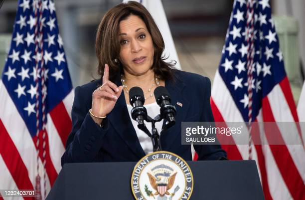 Vice President Kamala Harris speaks about the administration's American Jobs Plan at Guilford Technical Community College in Greensboro, North...