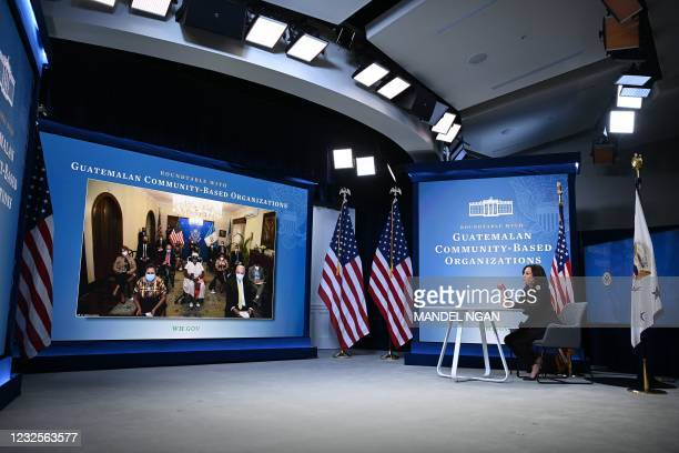 Vice President Kamala Harris speaks at a virtual roundtable discussion with Guatemalan community-based organizations in the South Court Auditorium,...