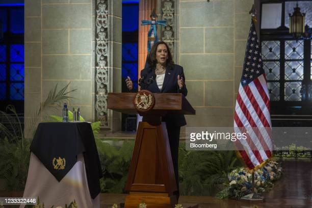 Vice President Kamala Harris speaks at the National Palace in Guatemala City, Guatemala, on Monday, June 7, 2021. Harris heads to Mexico and...