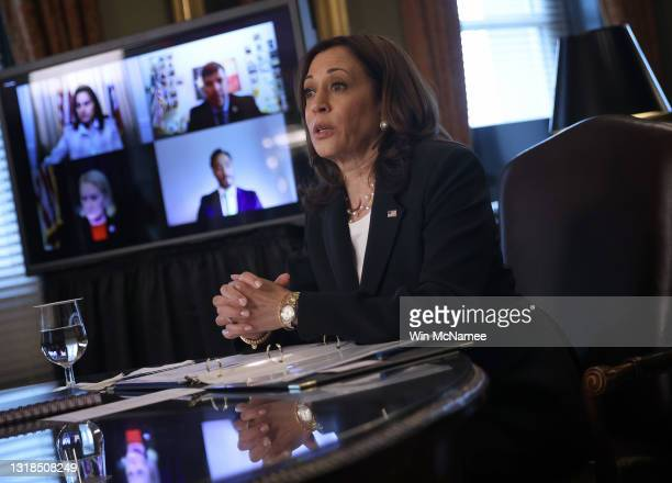 Vice President Kamala Harris speaks during a meeting with members of the Congressional Hispanic Caucus May 17, 2021 in Washington, DC. During the...