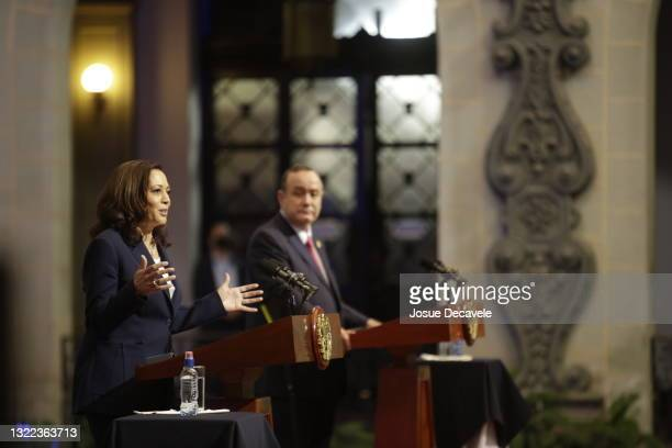 Vice President Kamala Harris speaks during a press conference at the Palace of Culture on June 07, 2021 in Guatemala City, Guatemala.In her first...