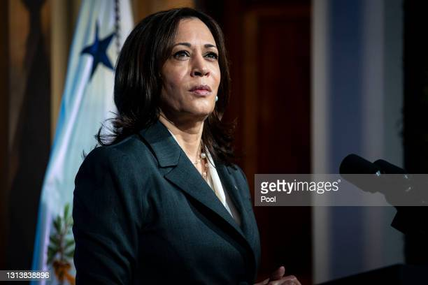 Vice President Kamala Harris speaks during a virtual Leaders Summit on Climate with 40 world leaders in the East Room of the White House April 22,...