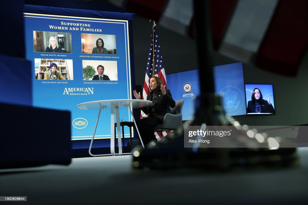 Vice President Harris Holds Virtual Roundtable With Women's Advocacy Leaders To Discuss American Rescue Plan : News Photo