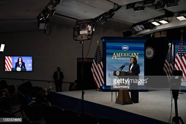 Vice President Kamala Harris speaks during an event on the implementation of the American Rescue Plan's investment in child care in the Eisenhower...