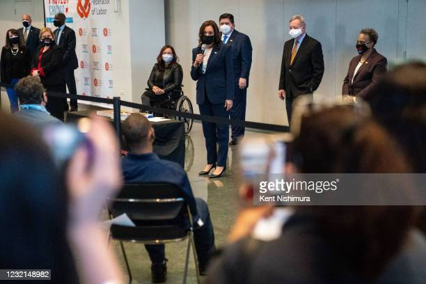 Vice President Kamala Harris speaks to a crowd after touring a COVID19 vaccination site at the International Union of Operating Engineers Local 399...