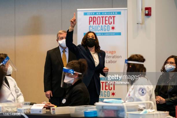Vice President Kamala Harris tours a COVID19 vaccination site at the International Union of Operating Engineers Local 399 union hall where she...