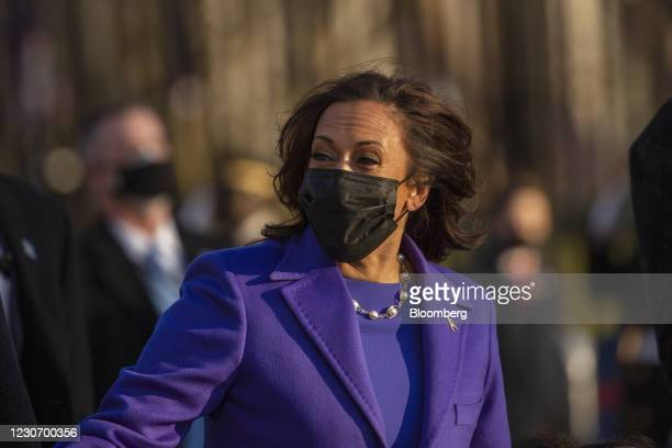 Vice President Kamala Harris walks on Pennsylvania Avenue during the 59th presidential inauguration parade in Washington, D.C., U.S., on Wednesday,...