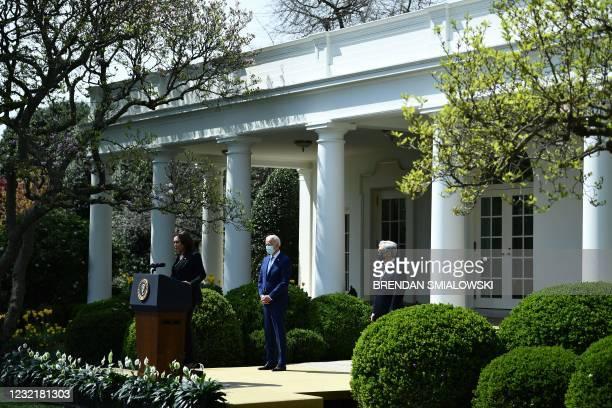 Vice President Kamala Harris, with President Joe Biden and Attorney General Merrick Garland, speaks before Biden addresses gun violence prevention in...