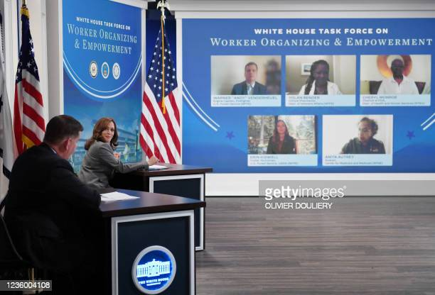 Vice President Kamala Harris, with Secretary of Labor Marty Walsh , hosts a roundtable with workers to discuss encouraging worker organizing and...