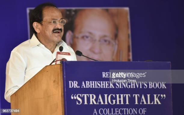 Vice President M Venkaiah adresses people during the release of Abhishek Manu Singhvis book Straight talk at the IIC on May 30 2018 in New Delhi India